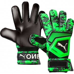 Puma One Grip 1 RC Black Gecko Green Goalkeeper Gloves