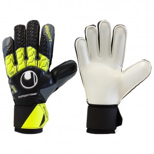 Uhlsport Soft Supportframe Black White Lime Goalkeeper Gloves